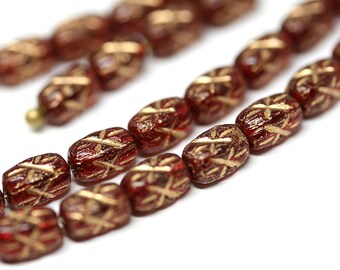 Red Gold czech glass rice beads Golden stars ornament 6x4mm small oval beads Red barrel beads - 50pc - 1525