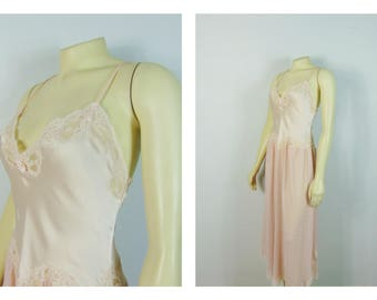Vintage Nightgown Christian Dior Baby Pink Satin & Chiffon Nightgown Size Small