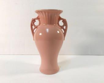 Abingdon Pottery Double Handle Vase #517 Peach Pink