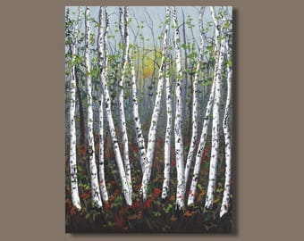 large birch tree painting, birch trees, large abstract painting, landscape painting, quaking aspens, large wall art on canvas, aspen trees