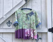 Reserved...XXL lime green floral embelished top blouse Upcycled clothing
