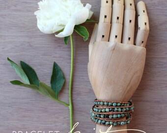 bead bracelet kit, DIY leather wrap bracelet, african turquoise, gift for her, DIY bracelet supplies, wrap bracelet tutorial