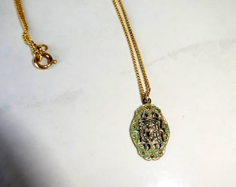 Vintage Necklace Filigree Pendant Gold Toned Metal Verdigris