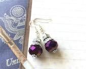 Purple Earrings, Purple Glass Earrings, Ultra Violet Earring, Purple Dangle Earrings, Purple Beaded Earrings, Purple Jewelry, Pantone