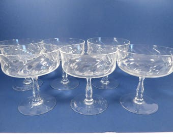 Mid Century Champagne Glasses Coupes Sherbets - Six Vintage Champagne Coupes Saucers