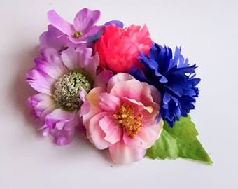 Floral fascinator in lavender, blue and pink. Flower boho hairclip. Romantic flowergirl bridesmaid raceday teaparty