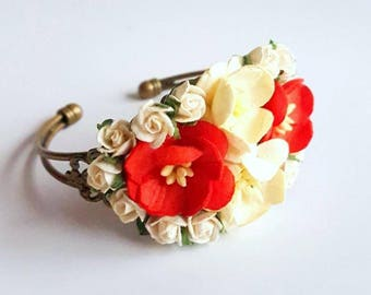 Red and ivory prom corsage - custom corsage - Bespoke - bracelet - wrist -  keepsake  - mother's - bridesmaid corsages
