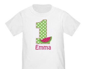 ON SALE 1st Birthday Pink Green Watermelon Personalized Birthday Shirt - ANY Age