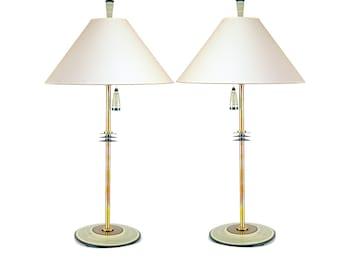 Table Lamp Pair Set Living Room Copper Art Deco Bedside Unique