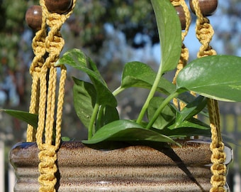 MARRAKESH - Long Handmade Macrame Plant Hanger Plant Holder with Wood Beads - 4mm Braided Poly Cord in GOLD