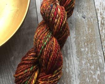 Hand spun 2ply batt spun yarn 50g Autumn Spice