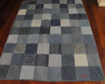 Denim Quilt from Recycled Blue Jeans with light grey fleece