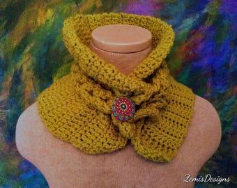 Decorative button neck warming collar