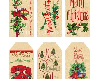 INSTANT DOWNLOAD, Vintage Christmas Gift Tags, Printable Gift Tags, Collage Sheet