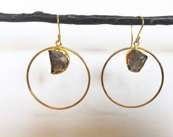Raw Stone Circle Earrings
