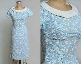 1940s Cotton Day Dress Turquoise Striped Floral Fitted Wiggle Dress