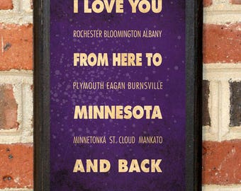Minnesota MN I Love You From Here And Back Wall Art Sign Plaque Gift Present Personalized Custom Color Home Decor Vintage Style Classic