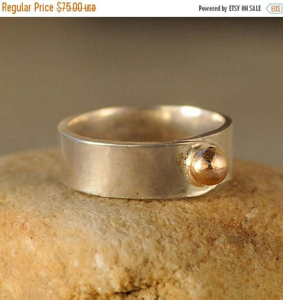 ON SALE Silver and Gold Ring - Gold Nugget Ring