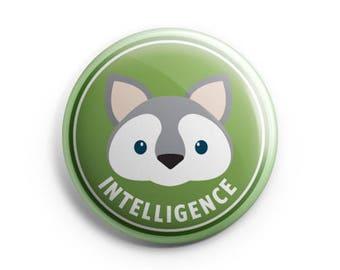 Merit Badge - Wolf, Pinback button, Intelligence, Children badges, Illustration. Honour badges