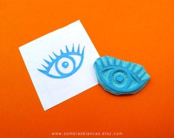 Eye Stamp - Hand Carved Rubber Stamp – Scrapbooking Stamp – Card Making – DIY Stationery - Journal Stamp - Printmaking