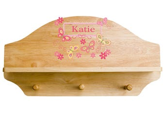 Personalized Natural Wall Rack and Shelf with Yellow Butterflies Design-shel-nat-300d