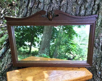 60's Small Wood Framed Mirror