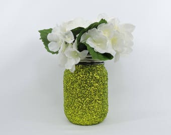 Lime Green Glitter Mason Jar for Wedding Decor, Baby Shower Decor, Graduation Party Decor, Birthday Party Decor, Halloween Decor