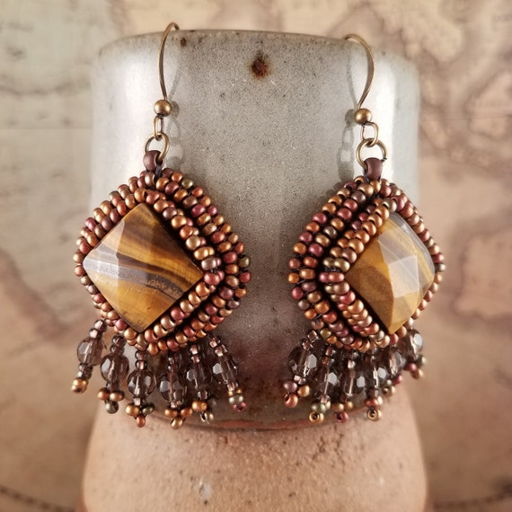 Safari Style Tiger Eye Earrings with Smokey Quartz Fringe