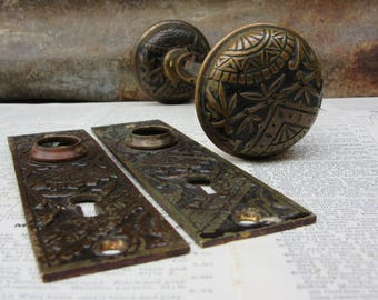 matched set of antique door knobs u0026 back plates vintage brass victorian metal ornate old