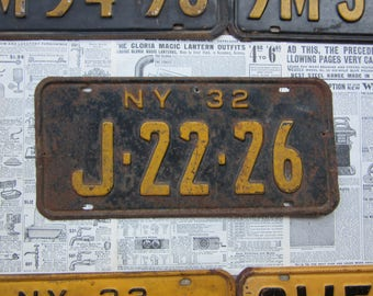 Vintage New York License Plate NY 1932 Black Yellow 1930s Antique License Plate Number Tag Metal Tag Car Truck Auto Distressed Metal Sign