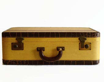 vintage striped suitcase with key 1940s travel luggage