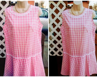 1960s Pink Gingham Scooter Dress Play Suit Culottes Skort Romper L Large AS IS