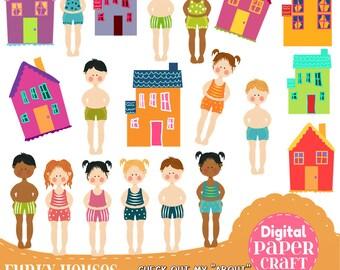 House Clipart, Children Clipart, Kids Clipart, Summer clipart, Village  clipart, Clipart, Handrawn Clipart, Nursery clipart,