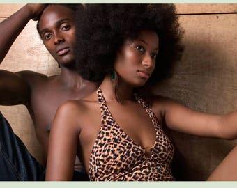 8 x 10 inch C-Print / Male & Female Black Models Afro Leotard Bathing Suit (Cyber Monday Sale)