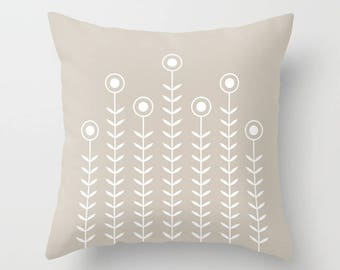 36 colours, Minimalist Flowers Decorative Pillow, Oyster Beige decor, Nordic Scandinavian style, Faux Down Insert, Indoor or Outdoor cover