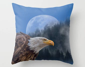 Bald Eagle, Blue Moon, Mountain Forest, Montage pillow, Birds, Nature decor, Faux Down Insert, Photo Montage Decor, Indoor or Outdoor cover
