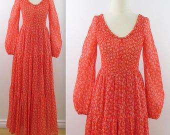 SALE Prairie Maxi Dress - Vintage Boho Festival Dress in Tangerine Orange - Small Medium by House of Nu-Mode