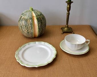 Vintage Handpainted Majolica Lidded Tureen, Melon Cantaloupe, Dept 56 Japan