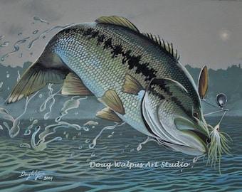 Original Largemouth Bass Painting by Doug Walpus, Freshwater Fishing, Fisherman, Wall Decor, Home Decor, Gifts, Office Decor, Jumping Fish