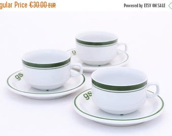 SALE 20% off Vintage ceramic set, 3 plates and cups 80s, Plates and cups GS from Poland, Green stripes