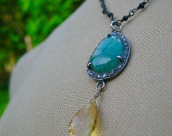 ESHA  Black Spinel, Emerald with Diamond Halo, Citrine Teardrop Necklace