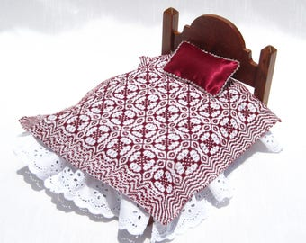 Dollhouse Coverlet Miniature Antique Bedding Handwoven Coverlet  Red Whig Rose Coverlet 12th Scale Dollhouse Bedding Small Doll Bedding