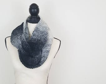Gray Ombre Knit Infinity Scarf