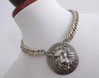 SALE :))) THE LION . Renaissance Baroque Greek Element Design Vintage Necklace 70s Animal Big Cat