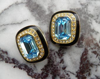 Aqua Blue, Rhinestone Clip Earrings, Ciner Style and Quality.