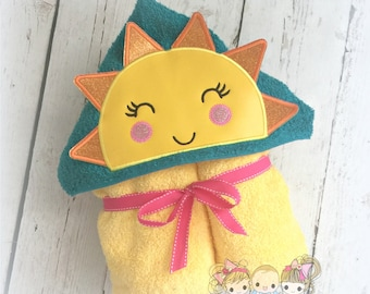 Girls sun hooded towel - little sunshine hooded towel - 3D sun - personalized hooded towel for girls - monogrammed towel with sunshine