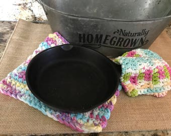 Crochet Kitchen Dishcloths -  Set of 2 - Crochet Washcloths - Handmade Cotton Washcloth - Ready to Ship