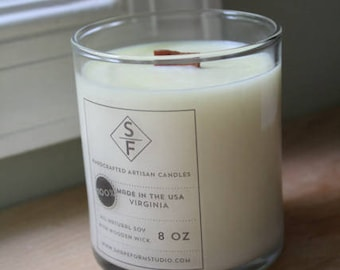 """VETIVER, DRIFTWOOD, and JASMINE: 8 oz. Aromatherapy """"Mist"""" Candle"""