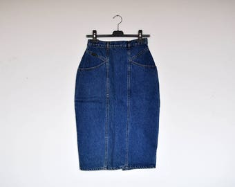 Vintage 80's High Waist Back Buttons Denim Pencil Midi Skirt