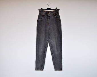 Vintage Grey Denim High Waist Zippered Skinny Pants